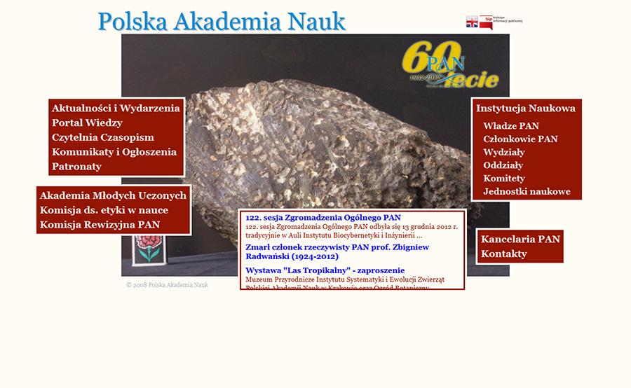 Strona internetowa Polskiej Akademii Nauk www.pan.pl